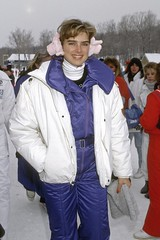 6203934 (onesieworld) Tags: woman canada sexy fashion shiny quebec can 80s celebrities onepiece nylon 90s catsuit snowsuit skisuit beaupr