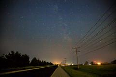 faint way (thatgirlwiththekicks) Tags: road trees summer sky ontario canada night stars union powerlines milkyway