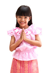 Sawatdee (Patrick Foto ;)) Tags: hello portrait people white flower girl beautiful beauty smiling fashion lady female studio asian thailand person clothing model hands women pretty respect little expression traditional daughter young silk culture style clothes human thai friendly hi toothy fold welcome tradition cheerful ethnic isolated greet sawatdee respectful