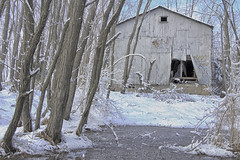 Winter Shack to lightroom2 (Kyle William Russell) Tags: winter white snow cold abandoned water kyle photography russell freezing abandon shack behind left