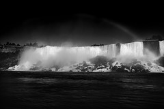 Rainbow over American Falls (Justin Weiner) Tags: sky blackandwhite white mist black reflection water niagarafalls rainbow niagara waterfalls