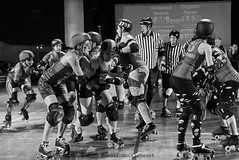 rebels_vs_panic_L1063726 1 (nocklebeast) Tags: ca usa santacruz rollerderby rollergirls zombies vampires skates organicpanic santacruzderbygirls redwoodrebels