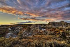 Sunset at Dino Park (Len Langevin) Tags: sunset sky canada clouds landscape nikon scenery tokina alberta badlands dinosaurprovincialpark 1116 d300s