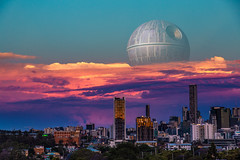 The true 'Supermoon' (dualiti.net) Tags: supermoon deathstar starwars rougeone 2016 wallpaper free hd brisbane queensland australia skyline city space moon sunset clouds photography edit photoshop sky pinkclouds