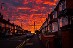 Abbey Road Armageddon (SimonLea2012) Tags: cars townscape cityscape town urban drama dramatic evening light colour sun architecture buildings houses streetphotography street armageddon red sunset clouds sky redsky