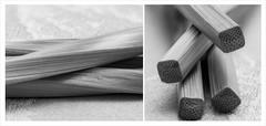 Spiral Chopsticks (Explored) (lclower19) Tags: zerene bamboo chopsticks macro closeup stacked black white bw diptych four explored
