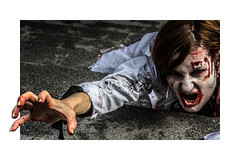 Reaching (Mr Gray Scale) Tags: zombie world day london wzd2016 horror blood fear reach hand