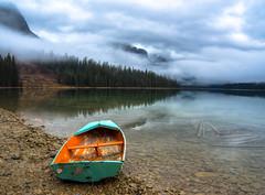 Emerald Lake, British Columbia (leomacdonald) Tags: emeraldlake reflection britishcolumbia canada field green water mist fog boat explore sonya7 mountains canadianrockies ngc