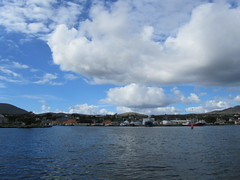 View on Castletowmbere from Bere island ferry (KatjaLinders) Tags: ireland beara castletownbere water ferry clouds cloud outdoor houses harbour