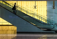 national (Keith Midson) Tags: architecture stairs walking woman person australia travel iphone6 urban airport escalator staircase canberra