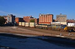 "Northbound Intermodal in Kansas City, MO (""Righteous"" Grant G.) Tags: csxt csx bn burlington northern bnsf railway railroad locomotive ge emd power intermodal container double stack train trains kansas city missouri north northbound"