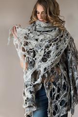 COBWEB GRAY (ResPiri handmadefelt) Tags: scarf wool felt silk eco fashion accessories moda lana cobweb shawl accessori organic natural winter fibers fiber art