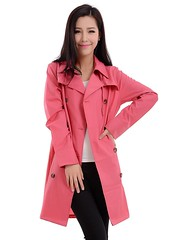 Raincoat Beauty (betrenchcoated) Tags: trenchcoat raincoat regenmantel regenjacke pretty pink beautifulgirl doublebreasted buttons