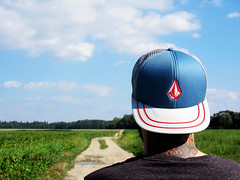 Me and the landscape (ozzykalnok) Tags: me myself behind cap fullcap volcom tattoo coloredtattoo landscape nature forest trees summer summertime field greenfield canon naturephotography beard bearded natureporn clouds sky bluesky outdoor