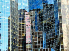 Skyscraper, Montreal, Quebec, Canada (duaneschermerhorn) Tags: architecture architect building structure skyscraper highrise tower glass glassfacade glassclad glasscladding reflection blue