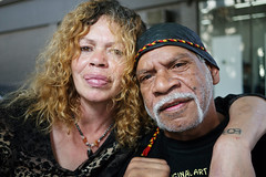 Aboriginal Elder and Woman-1234429680-O (gazrad) Tags: traceybarr aboriginal aboriginalaustralian australia colour couple differentialfocus grey headshot horizontal indigenous indigenousaustralian man stubble woman