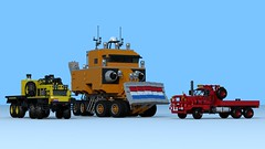 W.I.P. Overland Train and friends (The Driving Dutchman) Tags: truck lego wip trains outback trucks trailer oilfield logistics overland povray ldd oilfieldtruck ldd2povray