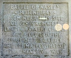 Plaque on the Cromwell monument (eucharisto deo) Tags: war king oliver parliament charles battle civil cavalier cromwell roundhead naseby 1645 royalist i