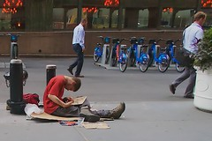 Some people would prefer to pretend that there aren't any homeless people in New York City ... (Ed Yourdon) Tags: newyork sign solitude alone drawing manhattan homeless streetphotography hood peeps solitary yourdon