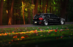 (Andrew Barshinger Photography) Tags: light sunset color rabbit fall nature car vw woods automotive stance mkv bagged