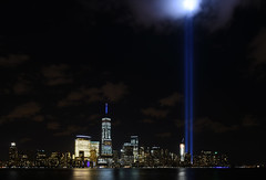 9-11 Tribute In Light 12 - Perspective Corrected (Amaury Laporte) Tags: newyorkcity favorite usa newyork unitedstates 911 landmarks northamerica tributeinlight memorials september11memorial favorite2015