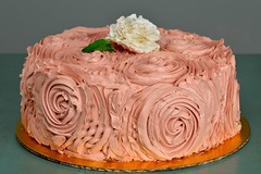 Cake With Butter Cream Ruffle Roses And Fondant Flower (brian_barney9021) Tags: wedding roses flower cake chocolate cream butter edible fondant
