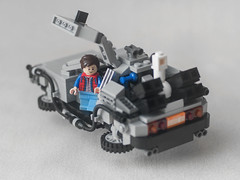 """Back to the Future"" (Twisted Euthopia) Tags: toy fly nikon lego bokeh hobby 100mm future timetravel nikkor build simple today delorean marty minimalist backtothefuture hover martymcfly part2 onelight october21 mrfusion buildingtoy onelightsetup gx1"