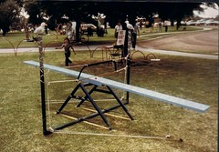 Semantic Seesaw by D Thompson 1978 (deadbudgie) Tags: sculpture word see saw play dot 1978 thompson mildura sculpturescape