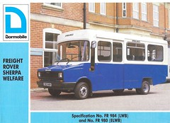 1986 Dormobile from UK (Hugo-90) Tags: bus ads advertising coach rover ambulance catalog 1986 brochure sherpa freight welfare dormobile