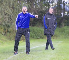 Vics gaffer John Gibson is unimpressed by the assistant referee (Stevie Doogan) Tags: clydebank blantyre victoria mcbookiecom west scotland league superleague first division holm park saturday 1st october 2016