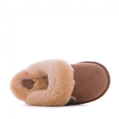 Molly - Sheepskin Mule Slippers - Chestnut (Bedroom Athletics) Tags: womens molly sheepskin mule slippers chestnut by bedroom athletics double faced shearling upper grade a australian lining branded button attached cuff embossed footbed logo textile covered nonslip tpr sole bedroomathletics