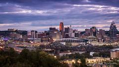 Cincinnati Panorama (matt_huff_photography) Tags: cincinnati midwest ohio panorama purple clouds sunrise buildings city cityscape ligts morning