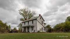 Empty Farmhouse (John H Bowman) Tags: ohio washingtoncounty houses oldhouses farmhouses derelicthouses barnssheds weatheredwood tinroof rustyroof cloudyskies october2016 october 2016 canon16354l