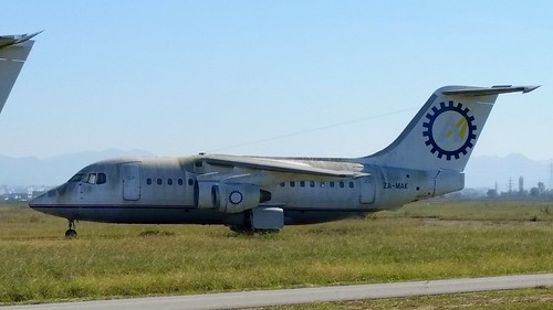 British Aerospace 146-100 c/n E1085 Albanian Airlines registration ZA-MAK stored at Tirana Airport, Albania