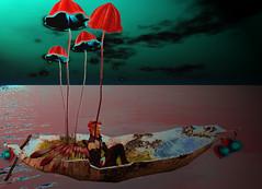 Floating in the dark (Niki Wirefly) Tags: fae fairy male fairey fantasy landscape dark faerie sea colour secondlife wings niki sl