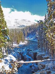Sunwapta Falls, Jasper National Park, Alberta, Canada - ICE(5)1248-1258 (photos by Bob V) Tags: mountains rockies rockymountains canadianrockies panorama alberta albertacanada falls waterfall sunwaptafalls jasper jasperpark jaspernationalpark