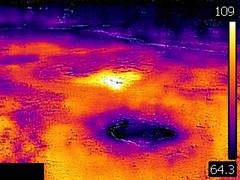 Thermal image of Bulger Geyser & Bulger's Hole (late afternoon, 11 August 2016) (James St. John) Tags: bulger geyser grand group upper basin yellowstone hotspot volcano wyoming hot spring springs thermal image temperature