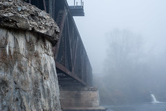 _COM1758 (Calvin Morgan) Tags: newaygomi nikond700 train track muskegonriver abandoned foggy nature structure outdoors