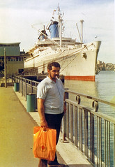 My grandfather and the Australis (Schwanzus_Longus) Tags: grandfather scanned photo ship vessel cruise ocean liner boat ss america australis australia chandris lines