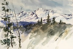 North Cascades, Early Snow (MicheleC2) Tags: worldwatercolorgroup watercolor worldofwatercolor mountains northcascades north cascades state park trees