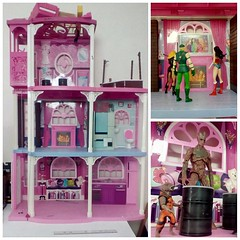 Extreme Home Makeover (Lyarks) Tags: barbie townhouse dreamhouse dream house condo pink 3story 3 story actionfigure action figure heroes legends marvel dc comics comic toy photography lyarks remodel paint