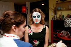 Crystal Doing Halloween Makeup (Mark Klotz) Tags: fujisuperiaxtra400 film ilovefilm crystal joanne filmphotography 35mmfilm canoneos1 halloween makeup sugarskullmakeup