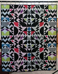 The Cool Kids back (Quiltachusetts - Heather Black) Tags: modern contempory quilt shocking hot pink aqua blue gren black white solids curved curves triangle transparency walking foot straight line quilting