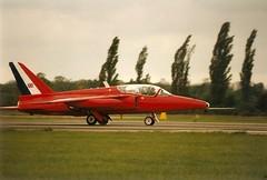 Gnat 'XR993' XP534 G-BVPP Red Gnat Ltd Fighter Meet North Weald 15-05-95 (Richard.Crockett 64) Tags: jet airshow 1995 essex gnat trainer redarrows raf airfield royalairforce northweald hawkersiddeley folland fightermeet gbvpp xp534 xr993 redgnatltd