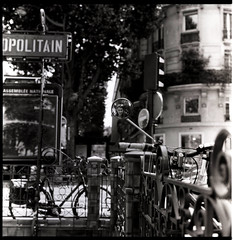 Bicycle Mirror, Paris (Tiny Wittan) Tags: street light blackandwhite bw abstract paris france reflection bicycle outdoors couple traffic metro mirrow metropolitian