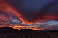Mt. Shasta sunrise from I-5 (acase1968) Tags: red orange sun color sunrise lens ed nikon highway colorful cloudy 5 d750 interstate 20mm nikkor rise afs partly f18g