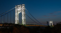George Washington Bridge - Lights (Globalviewfinder) Tags: christmas new york city longexposure bridge columbus vacation sun holiday man west public up thanks night river lights for george washington twilight memorial long day slow weekend manhattan labor sub year east clear giving jersey labour hudson lit independence presidents gwb slowexposure