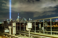 tribute (thebrooklyndodger) Tags: nyc newyorkcity skyline night memorial long exposure cityscape manhattan worldtradecenter 911 wtc tributeinlight september11th