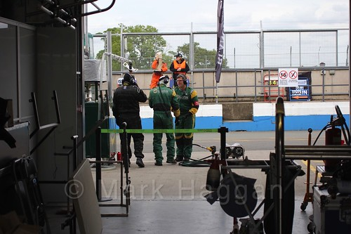In the pit garage during the GT race at Donington Park, September 2015