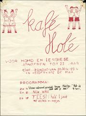 1984 Kaf Hol in kelderkafee De Plak (www.lesbischarchief.nl) Tags: nijmegen poster glbt 1983 affiche dito deplak lhbt homojongerenorganisatie pinkeltjehomojongeren